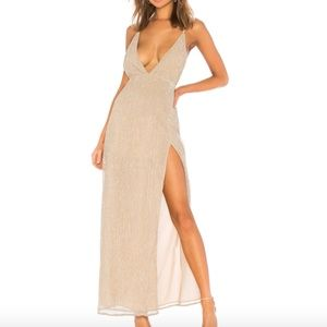 by the way Hailee High Slit Maxi Dress Champagne